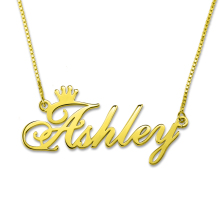 AILIN Custom Nameplate Necklace Personalized Name Crown Gold Color In 925 Sterling Silver Memorial Gift Women
