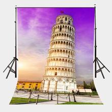 5x7ft Architectural Landscape Backdrop Leaning Tower of Pisa Studio Photography Background Ultra Violet Color Sky