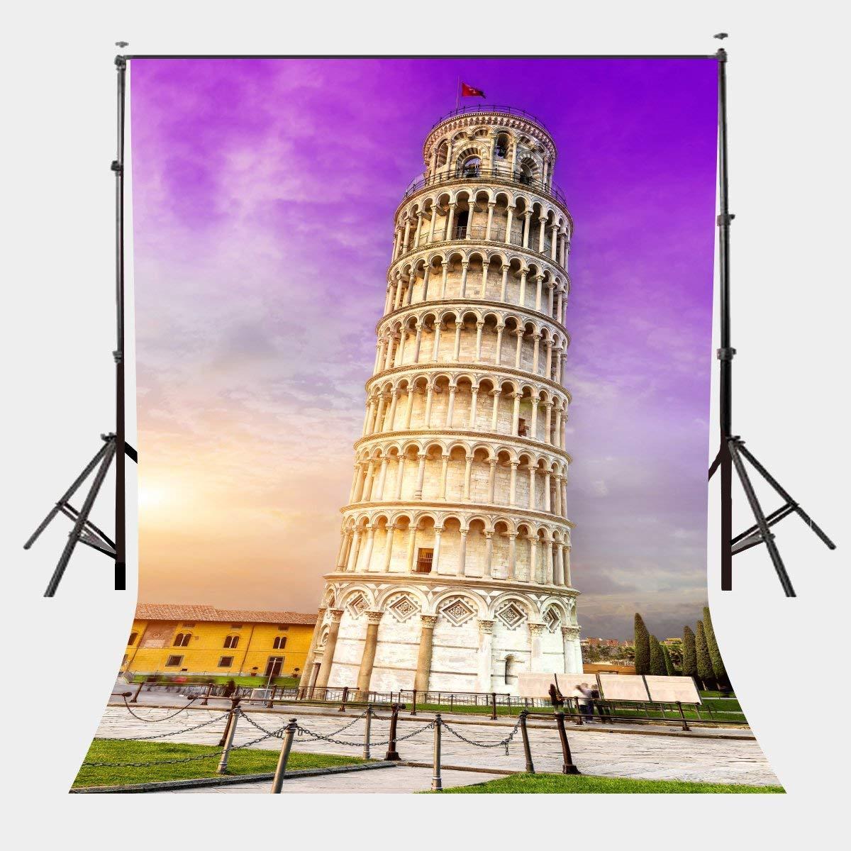 5x7ft Architectural Landscape Backdrop Leaning Tower of Pisa Studio Photography Background Ultra Violet Color Sky Backdrop