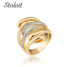 Chic Multi Layer Spiral Hollow Ring Fashion Geometric Mosaic Zircon Gold Color Ring For Women Party Gift Jewelry chic women s rhinestone geometric rose gold ring