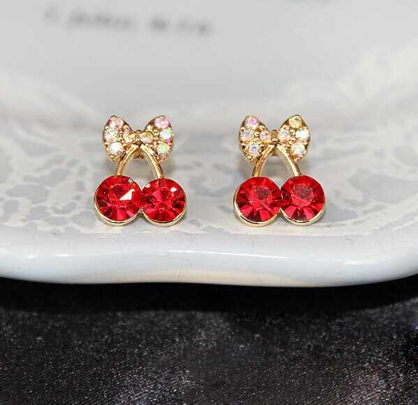 Promotion Korean Exquisite Sweet Girls Fashion Brincos  Plated Cystal Cherry Bowknot Accessories Stud Earrings  4ED26