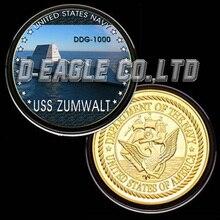 США ВМС USS DDG-1000 цветная печатная памятная монета/сувенир/Заказная монета/медаль