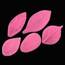 Silica Gel Sugar Cake Mold Solid Leaf Silicone Mold Leaf Veiner Stamp Concrete Molds DIY Clay Flower Tool 5pcs/lot(China)