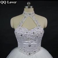 QQ 연인 2017 고품질 섹시한 고삐 우아한 흰색 웨딩 드레스 비디오 럭셔리 크리스탈 Vestido 빈티
