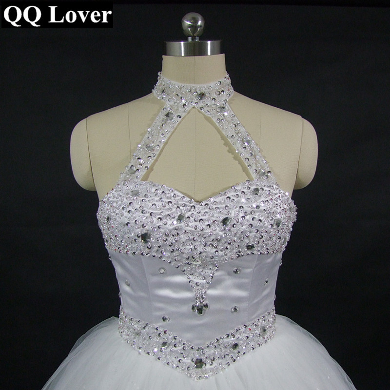 QQ Lover 2017 High Quality Sexy Halter Elegant White Wedding Dress With Video Luxury Crystal Vestido Vintage Plus Size Ball Gown