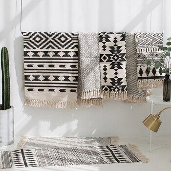 Kelim schwarz weiß 100% baumwolle wohnzimmer Teppich geometrische Indische  Teppich streifen Moderne Matte zeitgenössische design Böhmen Nordic stil