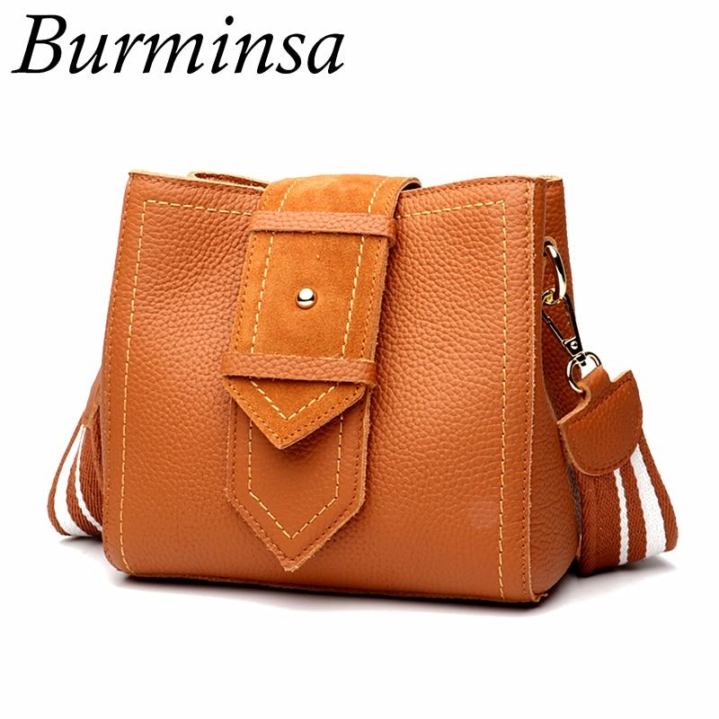 efaf4fd495ef Burminsa ведро дамы пояса из натуральной кожи сумки небольшой замши Винтаж  коричневый для женщин сумка женская сумки на плечо 2018 Sac Femme