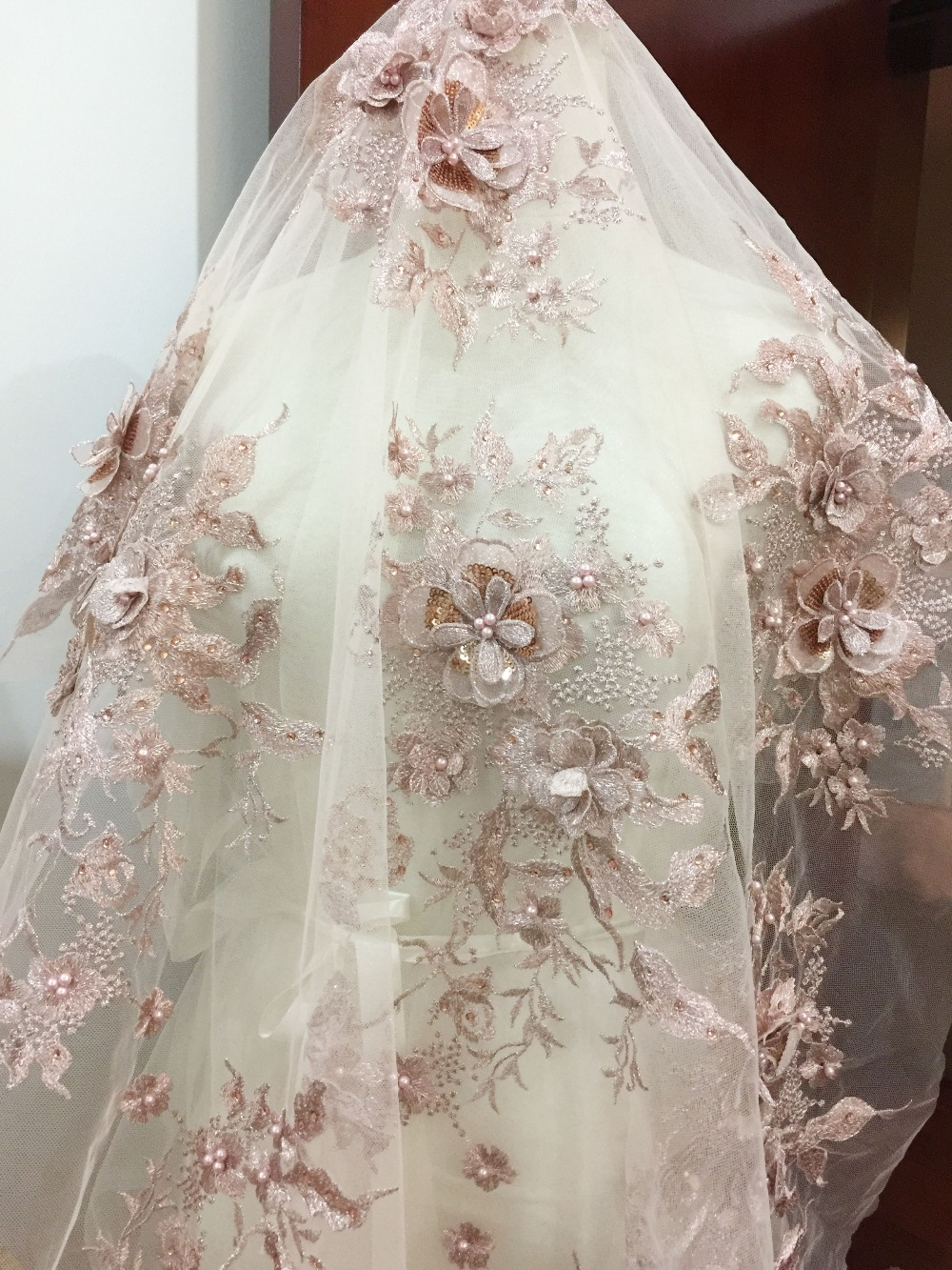 heavy hand made beaded gown dress lace fabric beading lace fabric weddingbridal dress lace fabric Beaded lace fabric with Ostrich feather