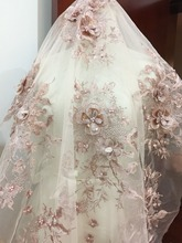 Luxury 3D Rhinestone Beaded Flower Lace Fabric in Rose Pink, Bridal Dress Wedding Gown Lace Fabric , Haute Couture Fabric 1 pc deluxe 3d luxury bridal gown bodice rhinestone applique in rose gold silver gold wedding gown couture dress motif lace
