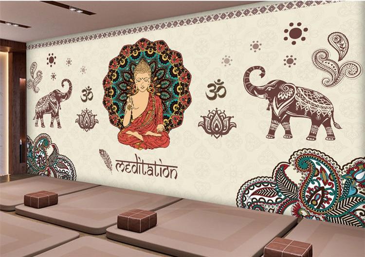 3d health yoga studio wallpaper India Southeast Asia ethnic style mural club wall sports gym wallpaper