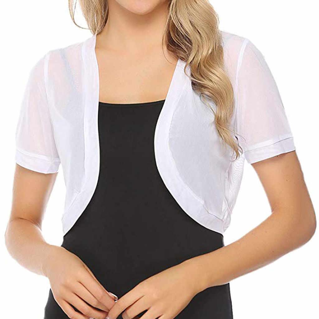 Năm 2019 Thời Trang Cardigan Nữ Áo Crop Top Bolero Nhún Vai Hở Mặt Trước Thiết Kế Plus Kích Thước Crop Quyến Rũ Cổ Tim Tay Lửng Cao Cấp