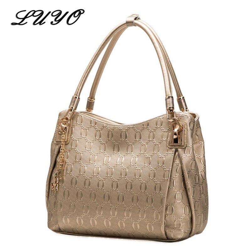LUYO marque or femmes vache en cuir véritable sac à bandoulière mode de luxe sacs à main de haute qualité sacs Designer femme sacs à main fourre-tout