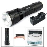 Cree xr-e recarregável led lanterna uniquefire uf-1507 zoom 3 modos 300lm lâmpada potente torch (g/r/w luz) + carregador
