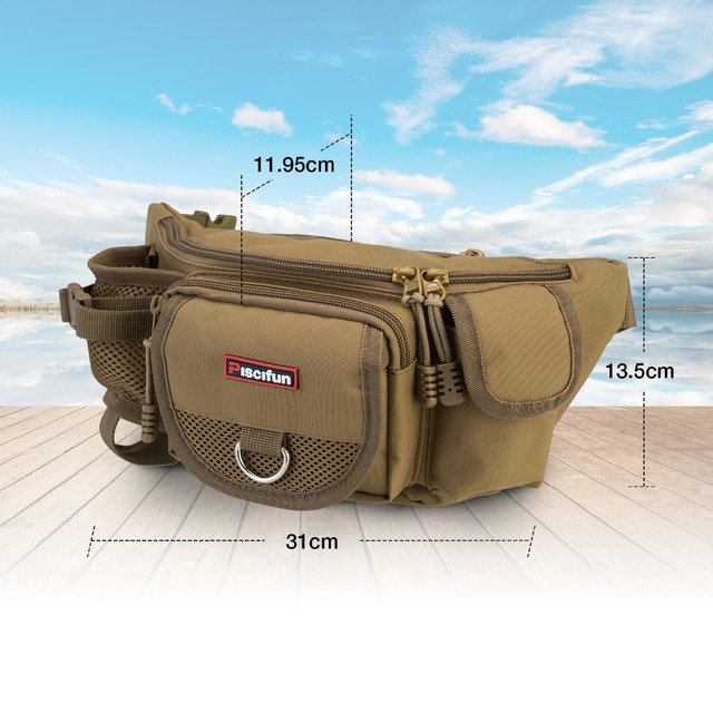 Piscifun Fishing Bag Multifunctional Outdoor Waist Bag Portable Lure Waist Pack Fishing Tackle Bag