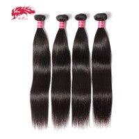 Ali Queen Hair Products Brazilian Virgin Straight Hair 4Pcs/Lot Virgin Human Hair Weave Bundles For Hair Salon Free Shipping