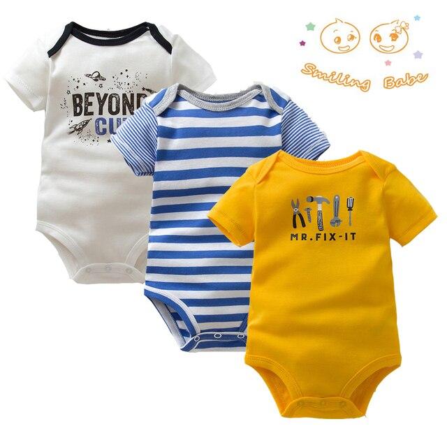 3 teile/los Weiche Baumwolle Baby Body Mode Baby Jungen Mädchen Kleidung Säuglings Overall Overalls Kurzarm Neugeborene Baby Kleidung