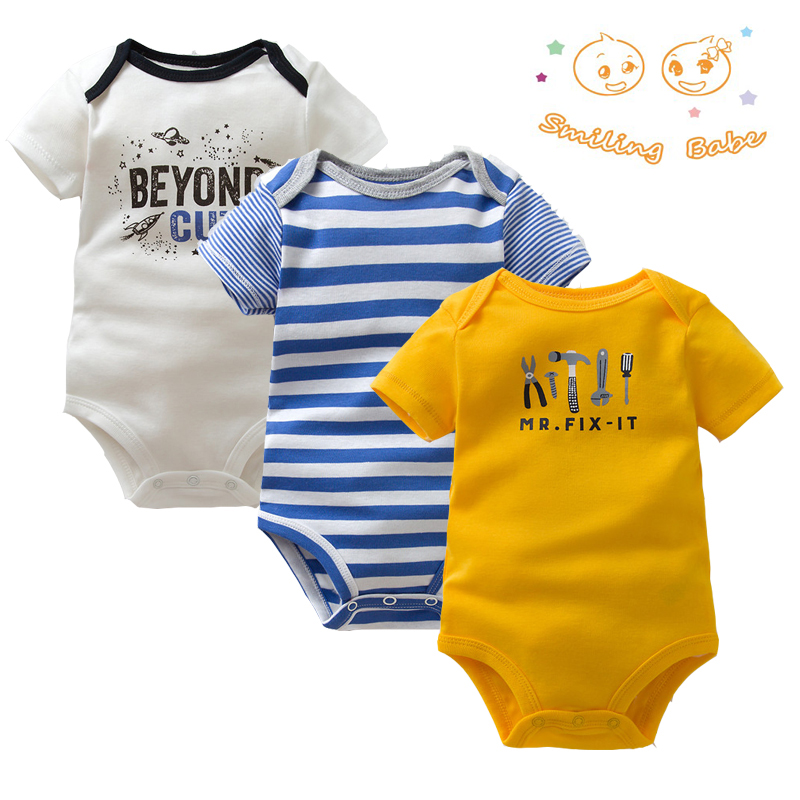 3PCS/LOT Soft Cotton Baby Bodysuit Fashion Baby Boys Girls Clothes Infant Jumpsuit Overalls Short Sleeve Newborn Baby Clothing newborn baby boys clothing sets baby girls clothes cartoon aircraft blue whale short sleeve infant cotton underwear 2pcs set