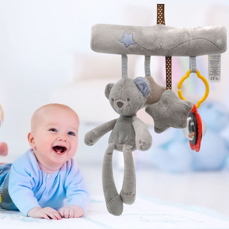 Baby Hanging Bell With BB Baby Bed Safety Seat Plush Toy Hand Bell Multifunctional Plush Toy Stroller Mobile Gifts