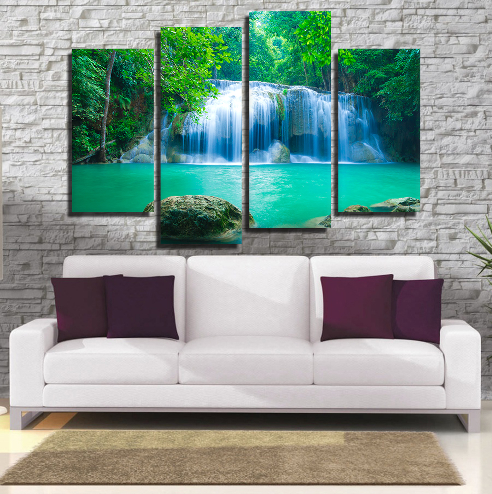 4 Pieces Oil Painting Waterfall Canvas Wall Art Canvas Print ...