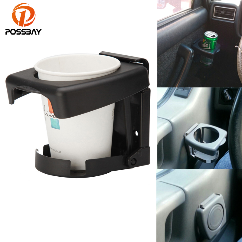 POSSBAY Car Cup Holder Multi-functional Mount Stand Holders Folding Auto Supplies Water Coffee Drink Holder for BMW Ford Nissan multi functional car swivel mount holder w dual usb charger 55mm 120mm black