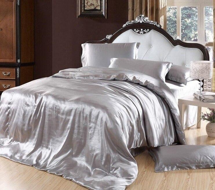 ᗕPlata funda nórdica juegos de cama Satén de seda gris super king ...