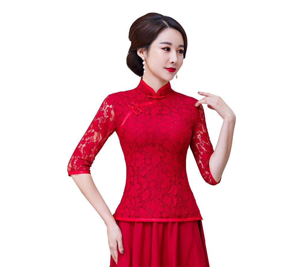 Shanghai Story 3/4 manches chinois traditionnel Top dentelle Cheongsam chemise Qipao Top dentelle chinois Blouse pour les femmes