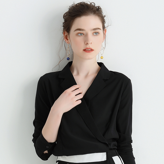 Office Blouse Women black Shirts Female Elegant Work Shirt Coat Casual Tops New 2018 Spring