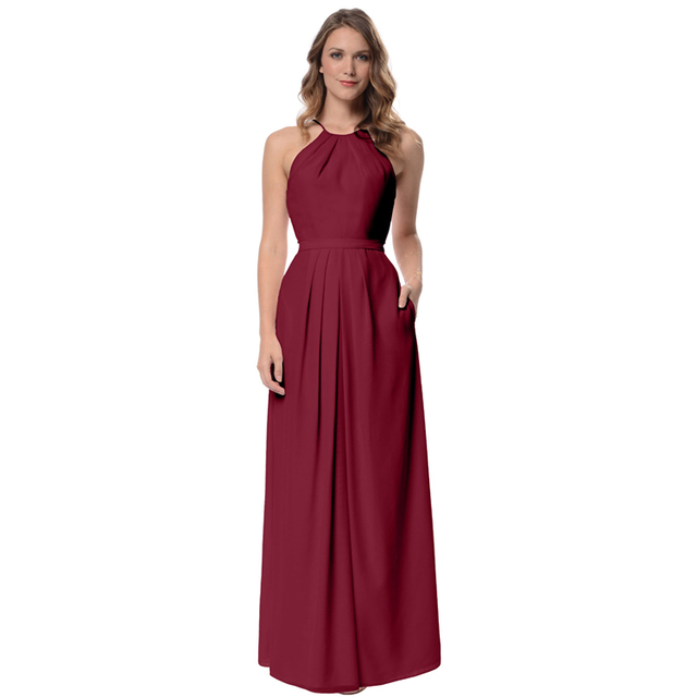 Burgundy Bridesmaid Dresses Long Halter Neck Chiffon Maid Of Honor Dress Floor Length Wedding Guest