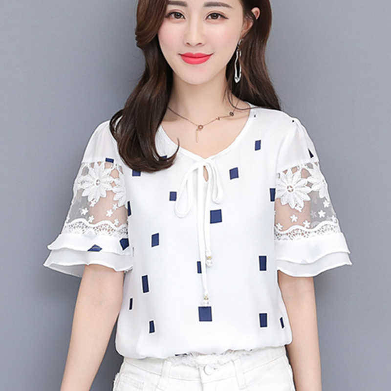 Chiffon Blouse Women Bow Striped Print Summer Shirt Femme O-neck Plus Size 4xl Womens Blouses Floral Short Sleeve Casual Blusas