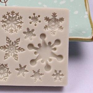 Image 2 - 1PCS Snowflake Shape Cake Mold Silicone Snow Fondant Mold Sugar Craft Cake Tool Snow Fondant Christmas Winter Decor K149