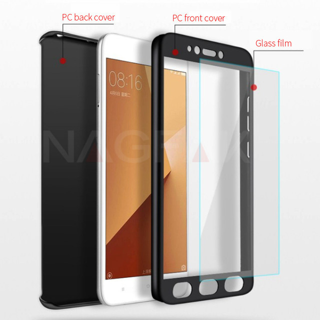NAGFAK Luxury Full Cover Phone Case For Xiaomi Redmi 5A 4X 4A Note 5A Prime Cover with Tempered glass Hard PC Phone Bags Case