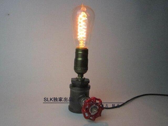Watetpipe чердак старинные промышленного металл настольные светильники эдисон настольная лампа E27 спальня