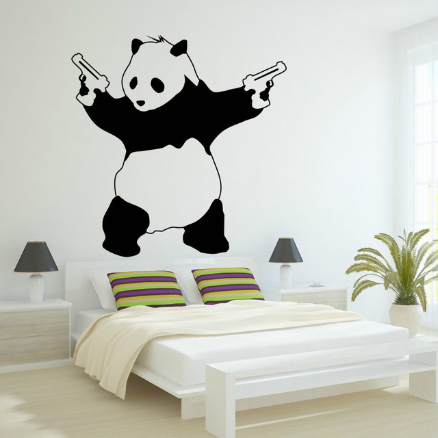 Free Shipping Newest Large Bad Panda Banksy Gangster Guns Wallpaper Vinyl Art Decal For Bedroom Decoration