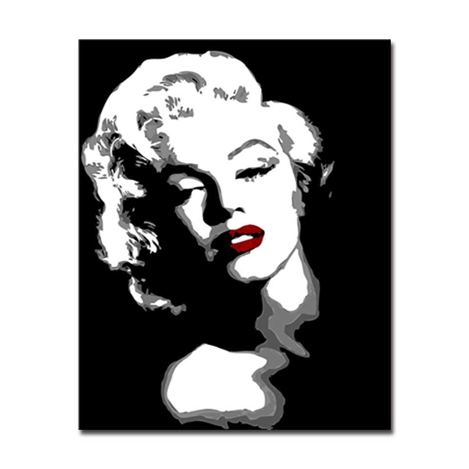DIY الطلاء بواسطة أرقام الاكريليك مجموعات الرسم الأبدي مارلين مونرو النفط الصور قماش اليد يرسم التلوين جدار الفن ديكور المنزل