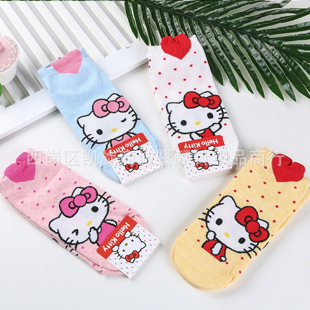 Cartoon Hello Kitty   sock   fashion cute funny sweet anime women   socks   spring summer comfortable cotton white yellow   sock   skarpetki