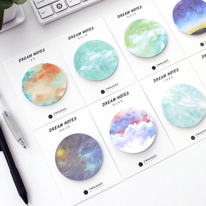 Natural Dream Series Self-Adhesive Memo Pad Sticky Notes Bookmark School Office Supply plastic self adhesive sticky notes memo pad notebook category label page index tag post planner stickers office school supply