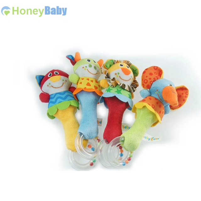 Animal Hand Bar Bell And Baby Rattles Baby Plush Toy