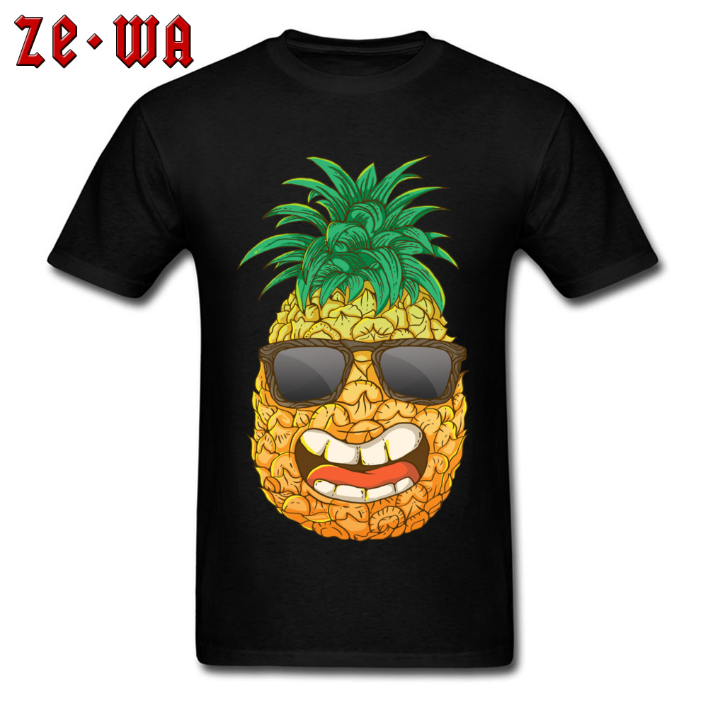 Cool Pineapple Round Neck Top T-shirts Labor Day Tops Shirts Short Sleeve Special Cotton Cool Tops & Tees Custom Student Cool Pineapple black