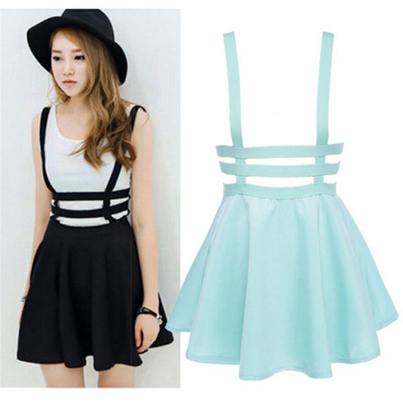Women Retro Hollow Mini Skater Cute Suspender Clothes Straps High Waist Skirt New CF6