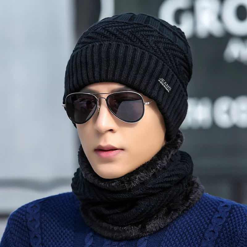 LCPEO 2pcs ski cap and scarf cold warm leather winter hat for women men Knitted hat Bonnet Warm Cap   Skullies     Beanies