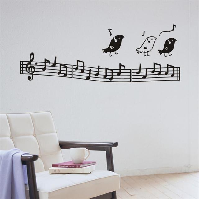 Creative Music Note Spectrum Virus Birds Sing Home Decoration Decal Wall Sticker Student Clroom