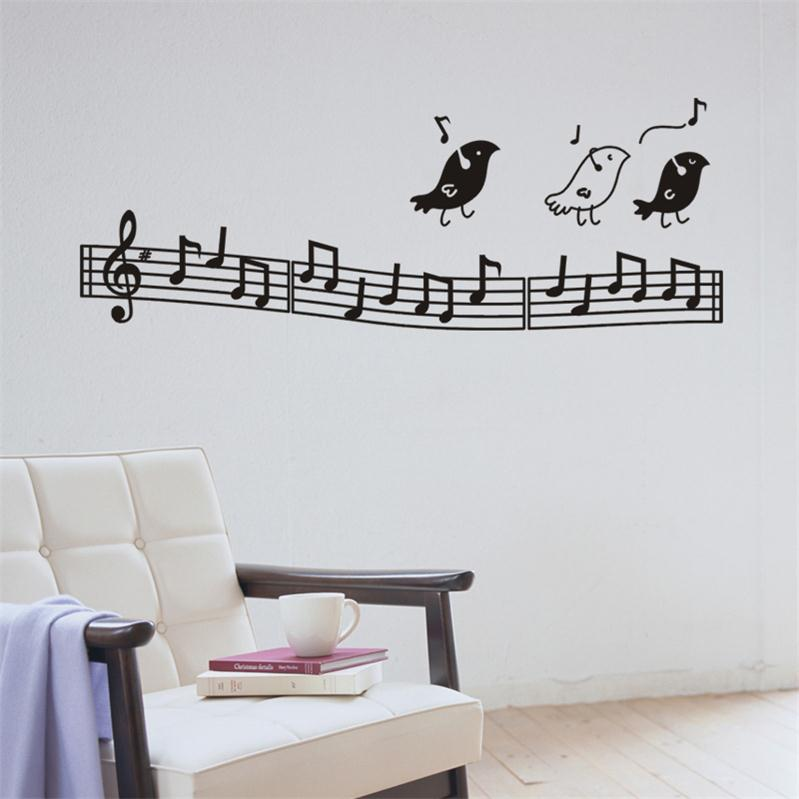 Creative Music Note Spectrum Music Virus Birds Sing Home Decoration Decal Wall Sticker Student Music Classroom Decor Stickers