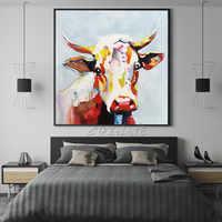 Pittura a olio su tela Mucca pittura acrilica caudros decoracion arte Della Parete Immagini Per Soggiorno di Casa decorazione pop art animale qudraos4