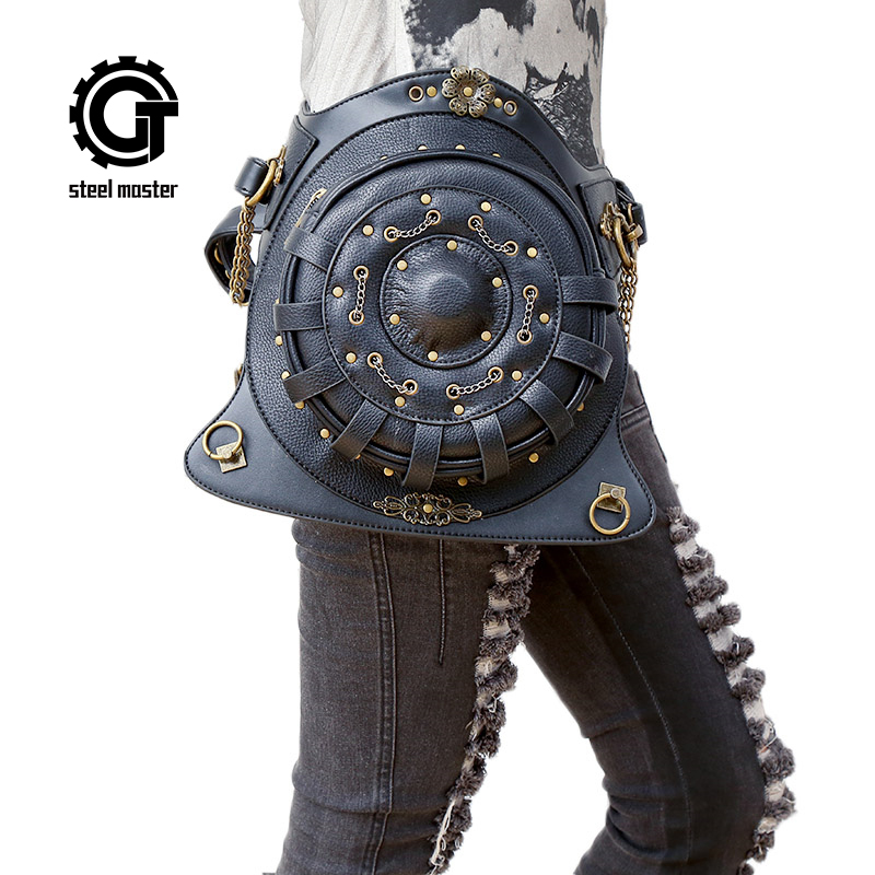 Steampunk Backpack bags Round Shoulder Gag Gothic Waist Bag Black PU Leather Punk Retro Rock Bag Halloween 2017 punk rave daft punk rock armor jeans black rivet belt pattern pleated high waist trousers gothic disc flowers buttons pants