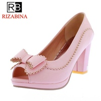 RIZABINA Size 33 43 Women Open Toe High Heels Shoes Women's Bowknot Platform Fashion Pumps Lady Office Daily Concise Footwear
