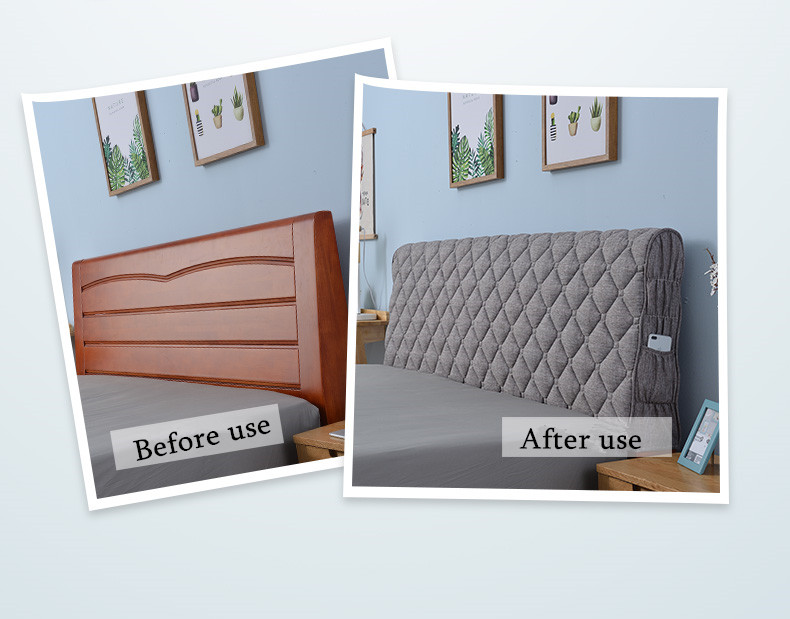 Dust Cover European Cotton Cover Thicken For Bedroom Decoration Color : Gray, Size : 120 * 73CM WANGLEI Bed Headboard Cover//Headboard Cover Double Bed Beige Padded Elastic Cover Protector