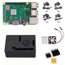 חדש פטל Pi 3 B + (B בתוספת) ערכת Quad Core 1.4 GHz 64 קצת מעבד עם אלומיניום מקרה כוח מתאם מאוורר גוף קירור