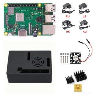 Image 1 - חדש פטל Pi 3 B + (B בתוספת) ערכת Quad Core 1.4 GHz 64 קצת מעבד עם אלומיניום מקרה כוח מתאם מאוורר גוף קירור