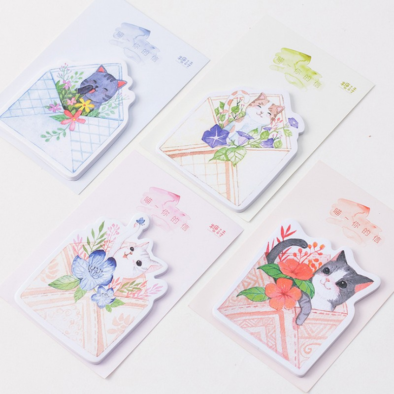 1 pcs cute cats letter memo pad paper post notes sticky notes notepad kawaii stationery papeleria school supplies kids gift