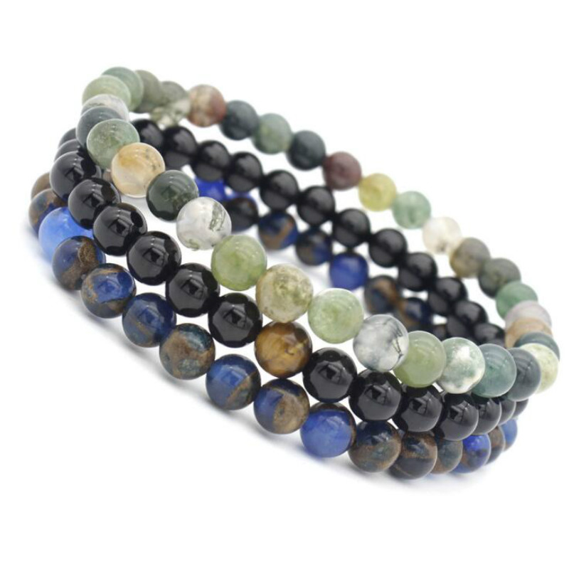 European and American fashion jewelry 6MM natural tiger eye stone matte surface Yoga Bracelet beautiful unisex accessories